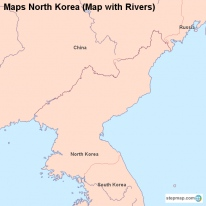 Maps North Korea (Map with Rivers)