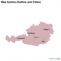 Map Austria (Outline and Cities)