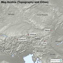 Map Austria (Topography and Cities)