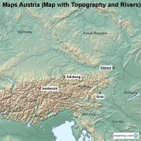 Maps Austria (Map with Topography and Rivers)