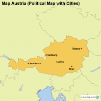 Map Austria (Political Map with Cities)