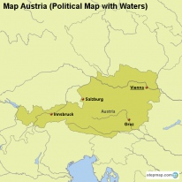 Map Austria (Political Map with Waters)