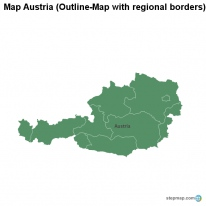 Map Austria (Outline-Map with regional borders)
