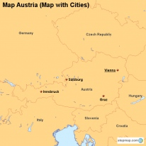 Map Austria (Map with Cities)