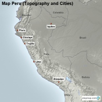 Map Peru (Topography and Cities)