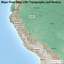 Maps Peru (Map with Topography and Rivers)