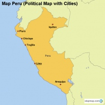 Map Peru (Political Map with Cities)