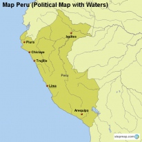 Map Peru (Political Map with Waters)