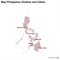 Map Philippines (Outline and Cities)