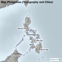 Map Philippines (Topography and Cities)