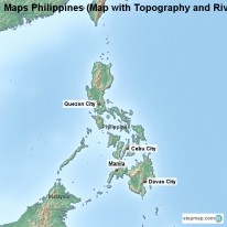 Maps Philippines (Map with Topography and Rivers)