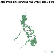 Map Philippines (Outline-Map with regional borders)