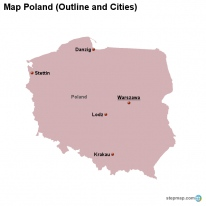 Map Poland (Outline and Cities)