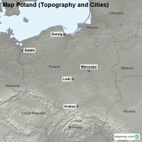 Map Poland (Topography and Cities)