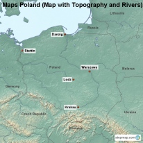 Maps Poland (Map with Topography and Rivers)