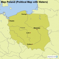 Map Poland (Political Map with Waters)