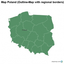 Map Poland (Outline-Map with regional borders)