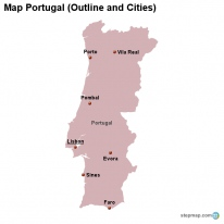 StepMap Maps For Portugal - Portugal map outline