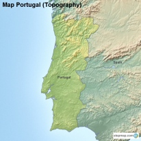 StepMap Maps For Portugal - Portugal elevation map