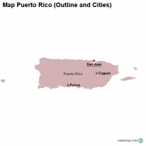 Map Puerto Rico (Outline and Cities)