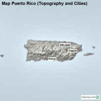 Map Puerto Rico (Topography and Cities)