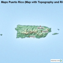 Maps Puerto Rico (Map with Topography and Rivers)
