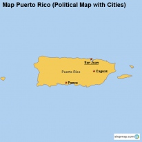 Map Puerto Rico (Political Map with Cities)