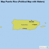 Map Puerto Rico (Political Map with Waters)