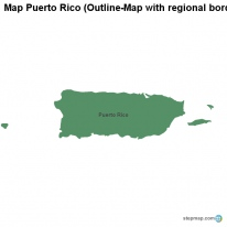 Map Puerto Rico (Outline-Map with regional borders)
