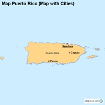 Map Puerto Rico (Map with Cities)