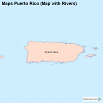 Maps Puerto Rico (Map with Rivers)