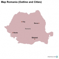 Map Romania (Outline and Cities)