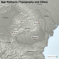 Map Romania (Topography and Cities)