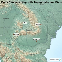 Maps Romania (Map with Topography and Rivers)