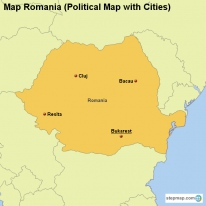 Map Romania (Political Map with Cities)