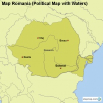 Map Romania (Political Map with Waters)
