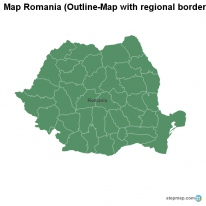 Map Romania (Outline-Map with regional borders)