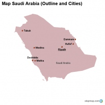 Map Saudi Arabia (Outline and Cities)