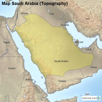 Map Saudi Arabia (Topography)