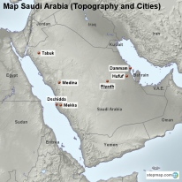 Map Saudi Arabia (Topography and Cities)