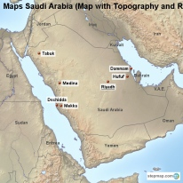 Maps Saudi Arabia (Map with Topography and Rivers)