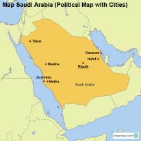 Map Saudi Arabia (Political Map with Cities)