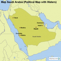Map Saudi Arabia (Political Map with Waters)