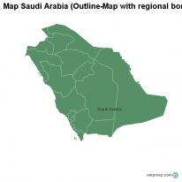 Map Saudi Arabia (Outline-Map with regional borders)