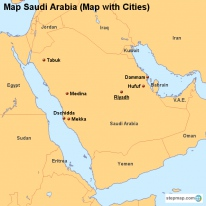 Map Saudi Arabia (Map with Cities)