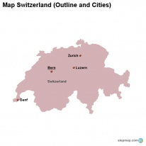 Map Switzerland (Outline and Cities)