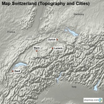 Map Switzerland (Topography and Cities)