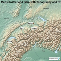 Maps Switzerland (Map with Topography and Rivers)