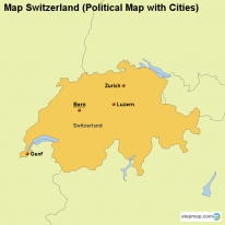 Map Switzerland (Political Map with Cities)