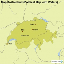 Map Switzerland (Political Map with Waters)